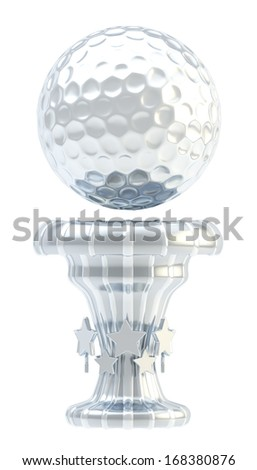 Award golf ball sport silver trophy cup isolated over white background - stock photo