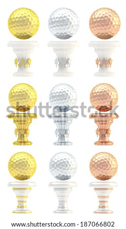 Award golf ball sport trophy set of golden, silver and bronze cups in three design variations isolated over white background - stock photo