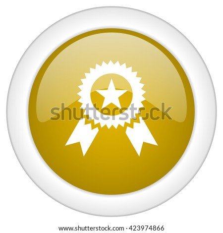 award icon, golden round glossy button, web and mobile app design illustration - stock photo
