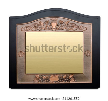 Award Mock Up, Black plaque with gold or brass plate isolated on white - stock photo