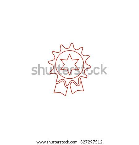 Award. Red outline illustration pictogram on white background. Flat simple icon - stock photo