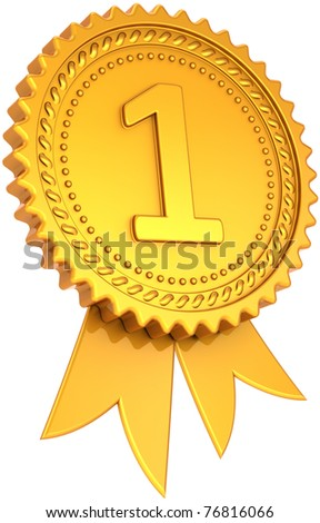Award ribbon golden first place winner. Number one medal champion success icon. Leadership pride design element. This is a high quality CG three-dimensional 3d render. Isolated on white background