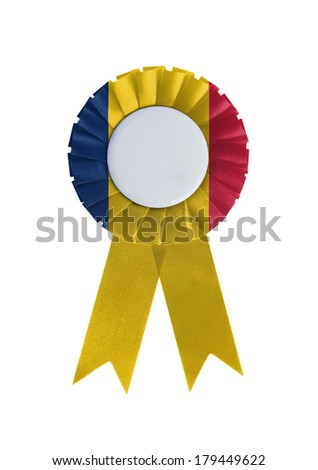 Award ribbon isolated on a white background, Chad
