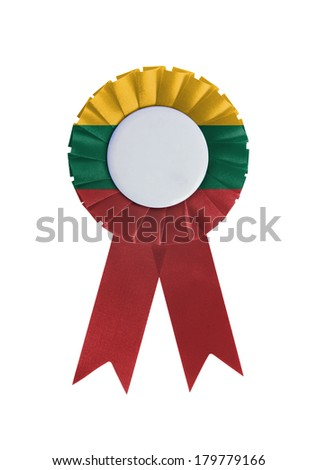 Award ribbon isolated on a white background, Lithuania