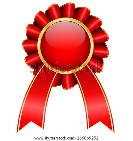 Award ribbon. Isolated on white background. Raster version - stock photo