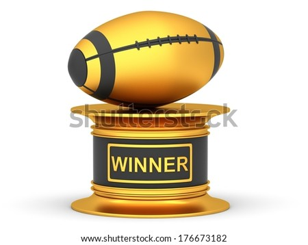 Award rugby sport trophy cup isolated on a white background - stock photo