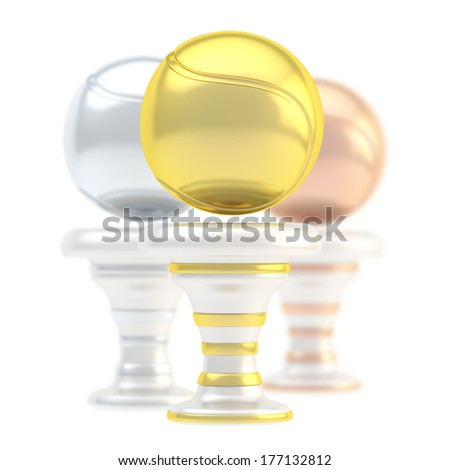 Award tennis ball sport trophy composition of golden, silver and bronze cups isolated over white background - stock photo