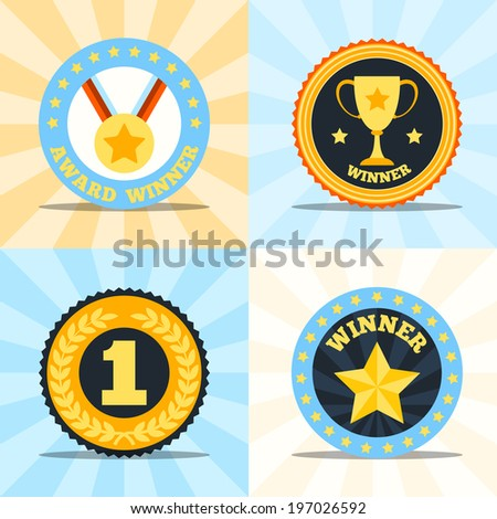 Award winner flat labels set of medal cup laurel wreath star isolated  illustration - stock photo