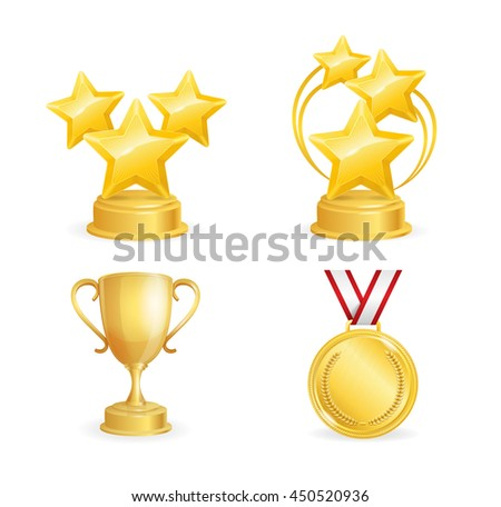 Awards Set. Golden Star, Cup and Medal. illustration