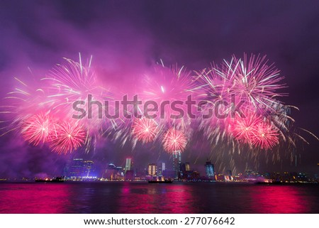 Awesome Fireworks over Victoria Harbor in Hong Kong