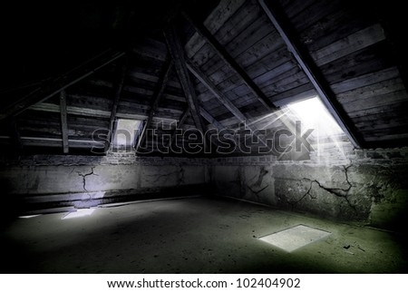 Awesome horror attic - stock photo
