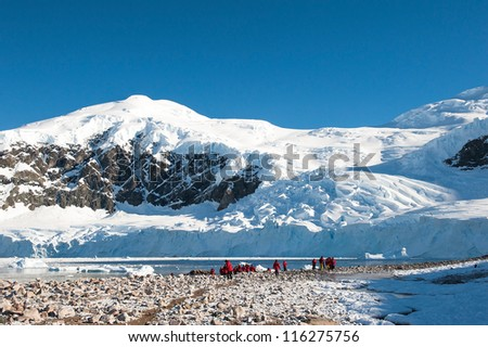 Awesome landscape in Antarctica, bright sunny day - stock photo