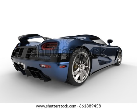 Awesome Metallic Blue Super Sport Concept Car   Back View   3D Illustration