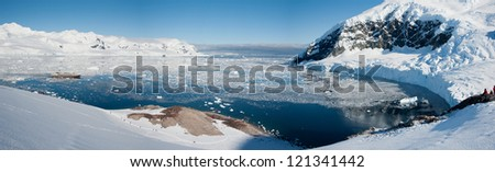 Awesome panoramic view in Antarctica, bright sunny day