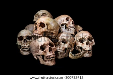 Awesome, pile of skull, on black background, Still Life style - stock photo