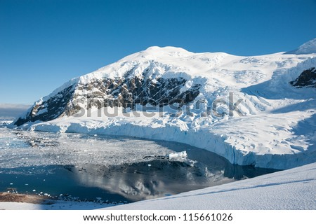 Awesome seascape from the peak in Antarctica - stock photo
