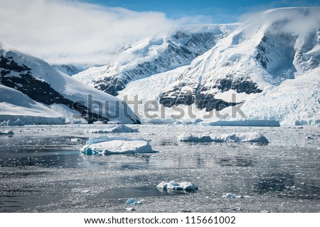 Awesome seascape in Antarctica, bright sunny day