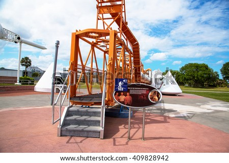 Awesome space technologies located at the Kennedy space center in Florida. Rocket bridge / gate where astronauts enter the spaceship.  - stock photo