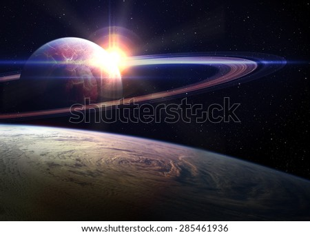 Awesome sunrise in space. Elements of this image furnished by NASA. - stock photo