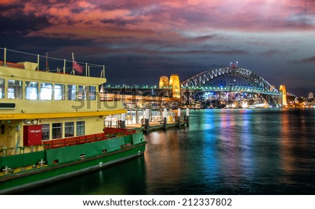 Awesome sunset over Sydney Harbour in winter season. - stock photo