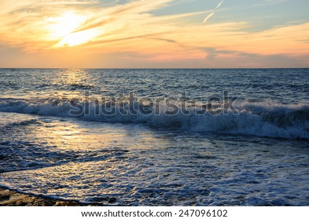 Awesome sunset over the Black Sea - stock photo
