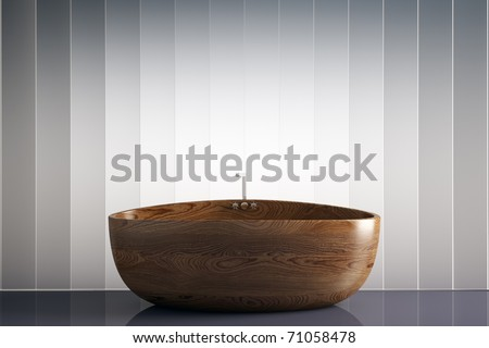 awesome wood bathtub 3d render - stock photo