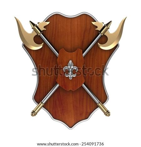 Axe And Shield - stock photo