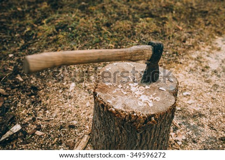 Axe in a stump - stock photo