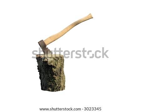 axe in the stump - stock photo