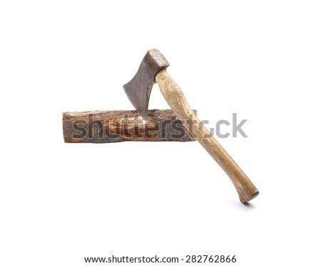 Axe on wood - stock photo