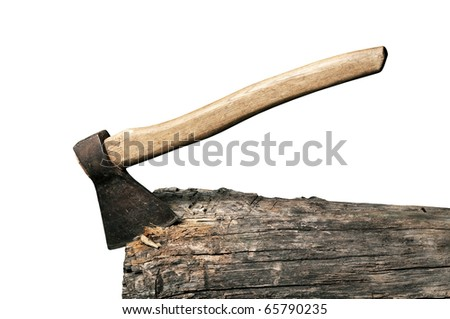 axe sticked in the beam isolated over white - stock photo