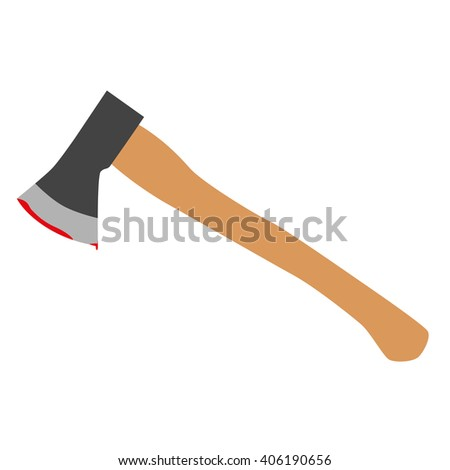 Axe wooden brown steel bloody raster illustration