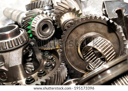 Axle, gears and bearings. - stock photo