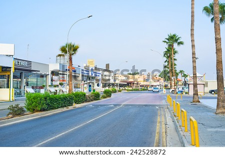 AYIA NAPA, CYPRUS - AUGUST 1, 2014: The modern resort contains numerous cafes, bars and night clubs, on August 1 in Ayia Napa.