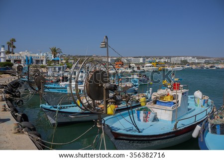 Ayia Napa/Cyprus  June 24 2015: Boats in Aiya Napa harbor. Ayia Napa (Agia Napa) is a resort at the far eastern end of the southern coast of Cyprus.