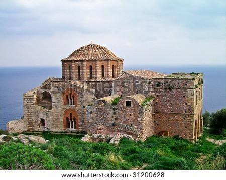 Ayia Sophia, 13th century Byzantine church, Monemvasia, Greece - stock photo