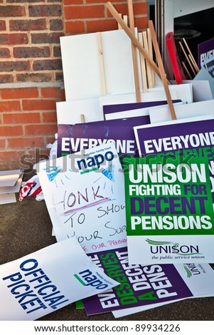 AYLESBURY, ENGLAND - NOVEMBER 30: Demonstrators discarded placards lay outside the Unions meeting hall during the day of public sector workers strikes on November 30, 2011 in Aylesbury