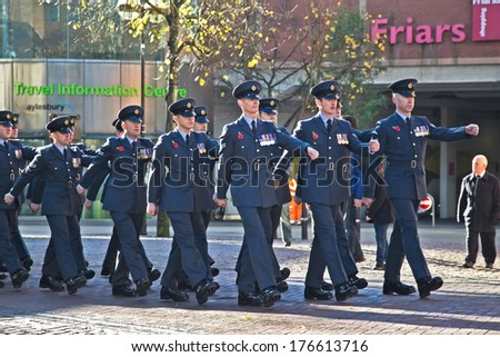 AYLESBURY, UK - NOVEMBER 10: Members of Her Majesties Royal Air Force march into Aylesbury market square for the annual Remembrance Sunday service on November 10, 2013 in Aylesbury