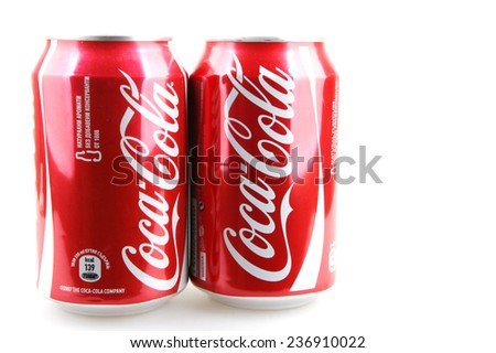 AYTOS, BULGARIA - DECEMBER 11, 2014: Coca-Cola isolated on white background. Coca-Cola is a carbonated soft drink sold in stores, restaurants, and vending machines throughout the world. - stock photo
