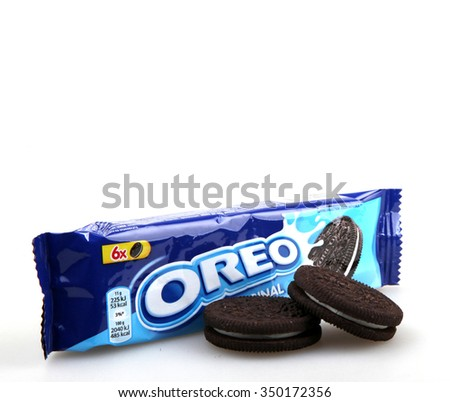 AYTOS, BULGARIA - DECEMBER 11, 2015: Oreo isolated on white background. Oreo is a sandwich cookie consisting of two chocolate disks with a sweet cream filling in between.