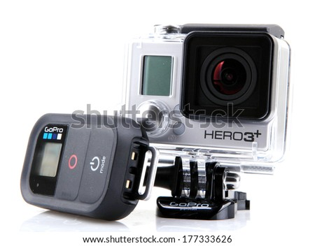 AYTOS, BULGARIA - FEBRUARI 17, 2014: GoPro HERO3+ Black Edition isolated on white background. GoPro is a brand of high-definition personal cameras, often used in extreme action video photography. - stock photo