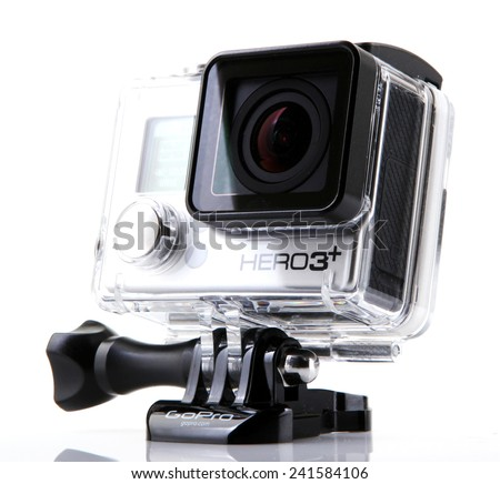 AYTOS, BULGARIA - JANUARI 04, 2015: GoPro HERO3+ Black Edition isolated on white background. GoPro is a brand of high-definition personal cameras, often used in extreme action video photography. - stock photo
