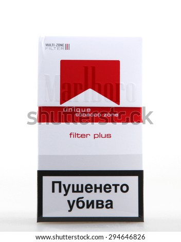 AYTOS, BULGARIA - JULY 08, 2015:  Pack of Marlboro Cigarettes, made by Philip Morris. Marlboro is the largest selling brand of cigarettes in the world. - stock photo