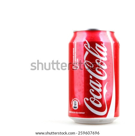 AYTOS, BULGARIA - MARCH 11, 2015: Coca-Cola isolated on white background. Coca-Cola is a carbonated soft drink sold in stores, restaurants, and vending machines throughout the world. - stock photo