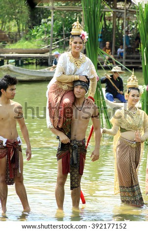"AYUTHAYA, THAILAND - August 13:2011. : Unidentified Thai dancer performs the most well-known Thai folktale called ""Kinari"" at Ayutthaya Klong Sa Bua Water Theater"
