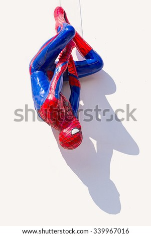 Ayuttaya, Thailand - November 15, 2015 : Spider-Man model upside down on billboards at Thung Bua Chom floating market - stock photo