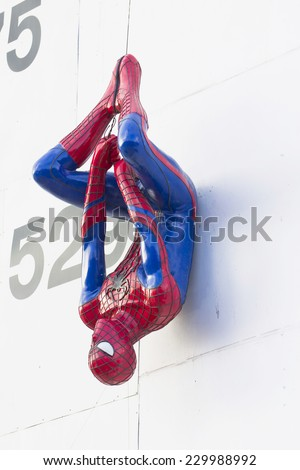AYUTTHAY- NOVEMBER 09,2014: The statue of Spider man at a floating market Ayutthaya thailand. Spider man is a character from the Spider man franchise. - stock photo