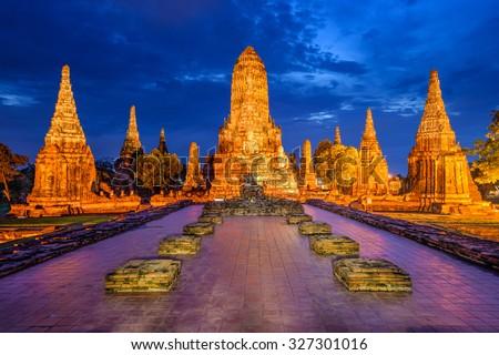 Ayutthaya, Thailand at Wat Chaiwatthanaram. - stock photo