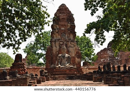 Ayutthaya, THAILAND - JUNE 19 :2016. Buddha images and pagodas Wat Mahathat. Wat Mahathat is a Buddhist temple in the city of Ayutthaya Historical Park.
