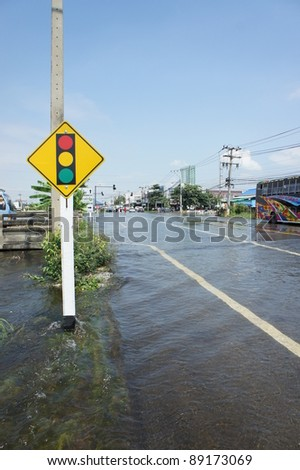 AYUTTHAYA, THAILAND - OCTOBER 5: Heavy flooding from monsoon rain in Ayutthaya and north Thailand arriving in Ayutthaya suburbs on October 5, 2011 in Ayutthaya, Thailand.